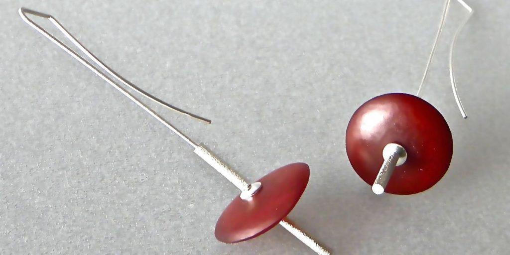 638 - Red Disc Earrings