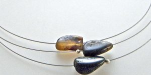 673 - Triple Amber On Wire Necklace