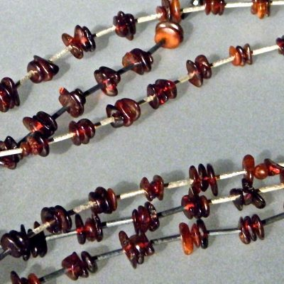693 - 100 Amber Necklace With Matt Silver