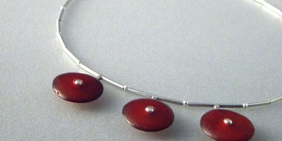 794 - Triple Red Disc Necklace