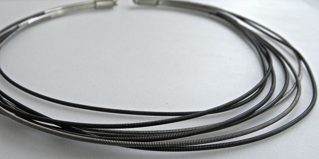 834 - Surgical Steel Wrapped With Silver Necklace