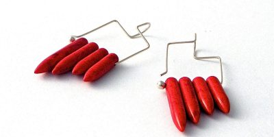 842 - Red Magnesite Earrings