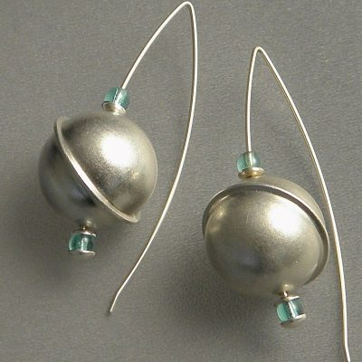 857 - Silver Ball With Aquamarine Earrings