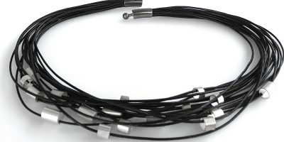 886 - Large Silver Tubes On Leather Necklace
