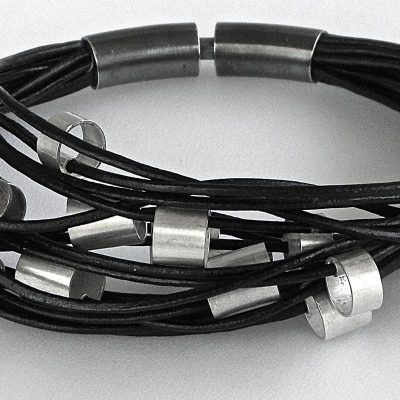 887 - Large Silver Tubes On Leather Bracelet