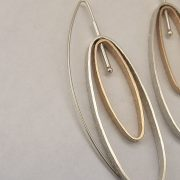 943 - Double Oval Earrings One Gold Plated