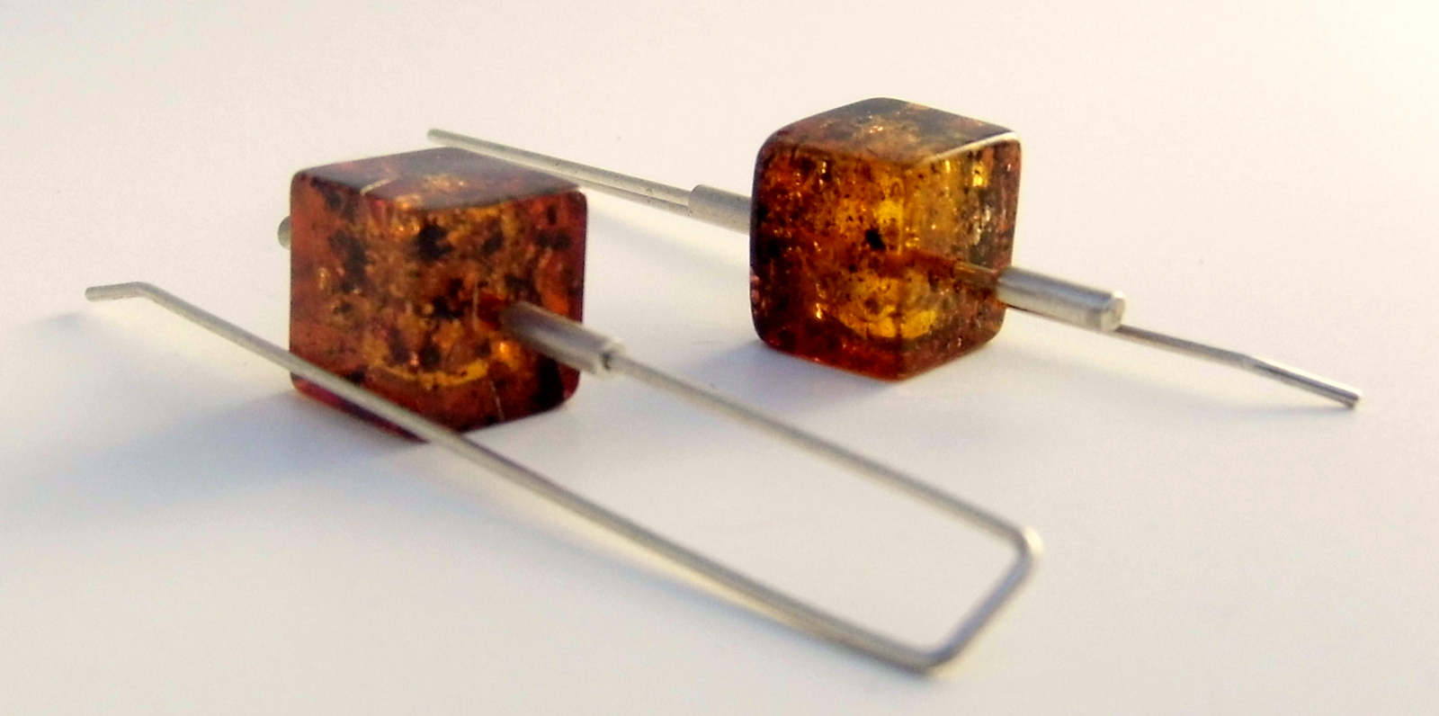 061 Square Amber Earrings