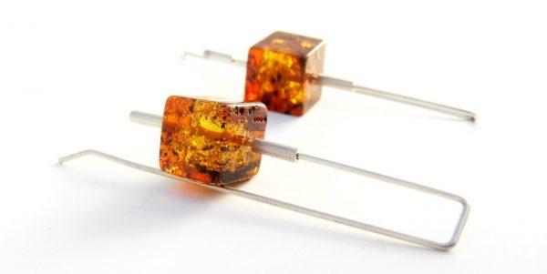 061 Square Amber Earrings