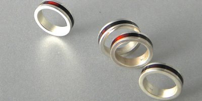 081 - Inlaid Amber Rings