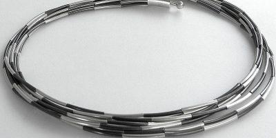 333 - White Oxidized Tube Necklace