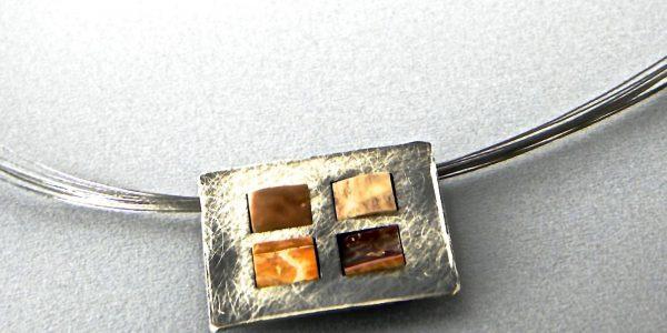 529 - Fossil Square Pendant