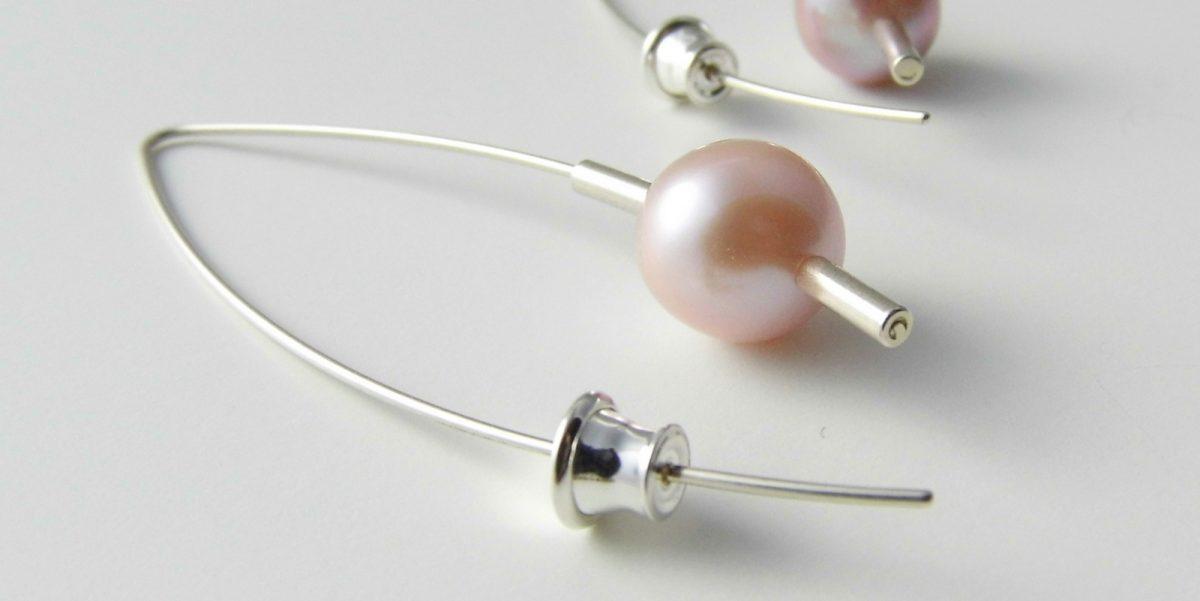 540 Drop 10mm Pearl Earrings Pink