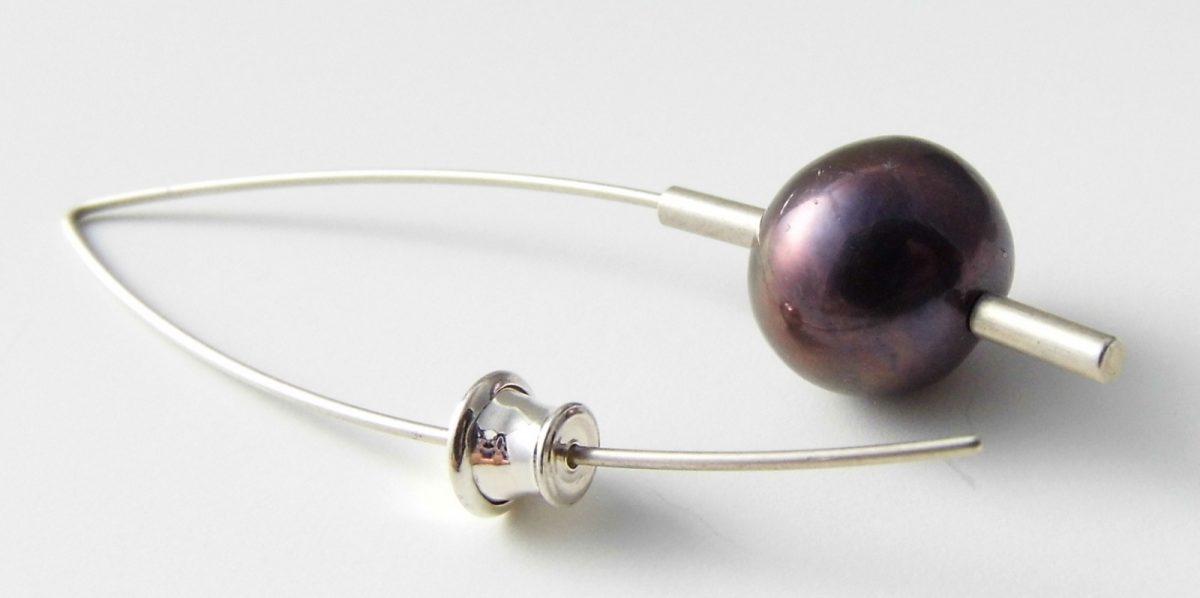 540 Drop 10mm Pearl Earrings Purple