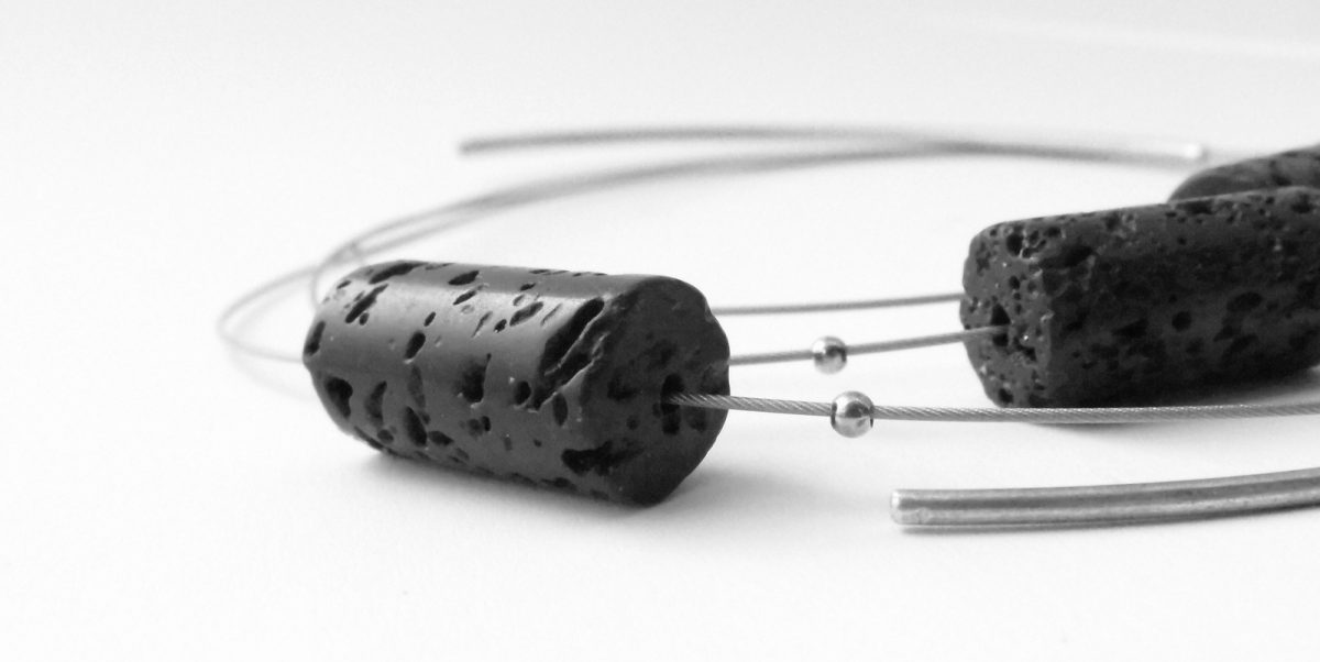 628 Three Strand Lava Necklace