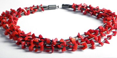 643 - Seven Strand Coral Necklace