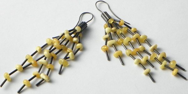 735 - Long Butterscotch Amber Earrings