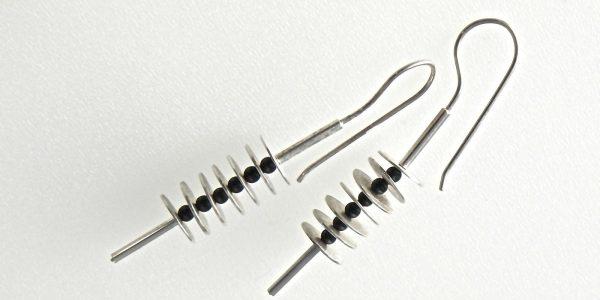 738 - Flexible Silver Onyx Earrings