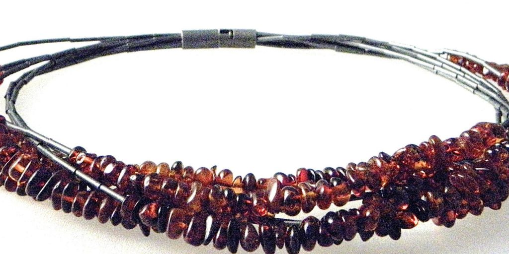 790 - Seven Strand Cognac Amber Necklace
