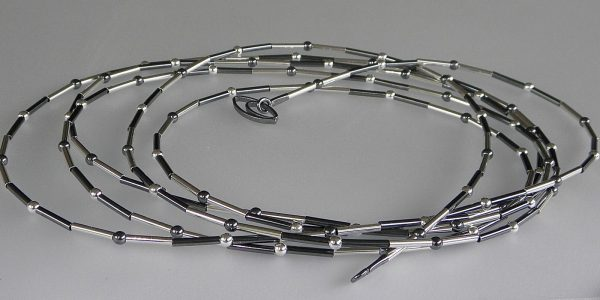 812 - Long White Oxidized With Balls Necklace