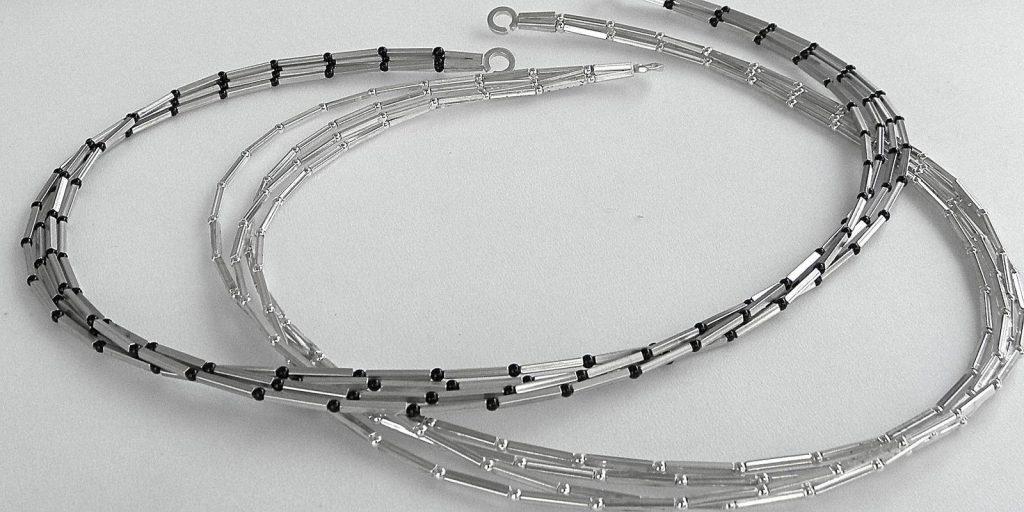 821 - Four Strand Square Tube Necklace