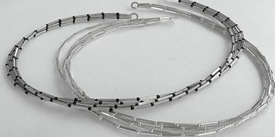 821 - Four Strand Square Tube Necklace