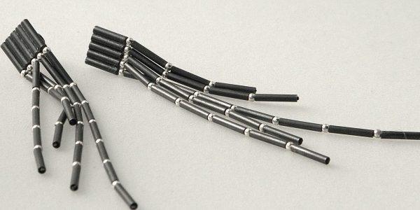 832 - Five Strand Tube Ball Earrings