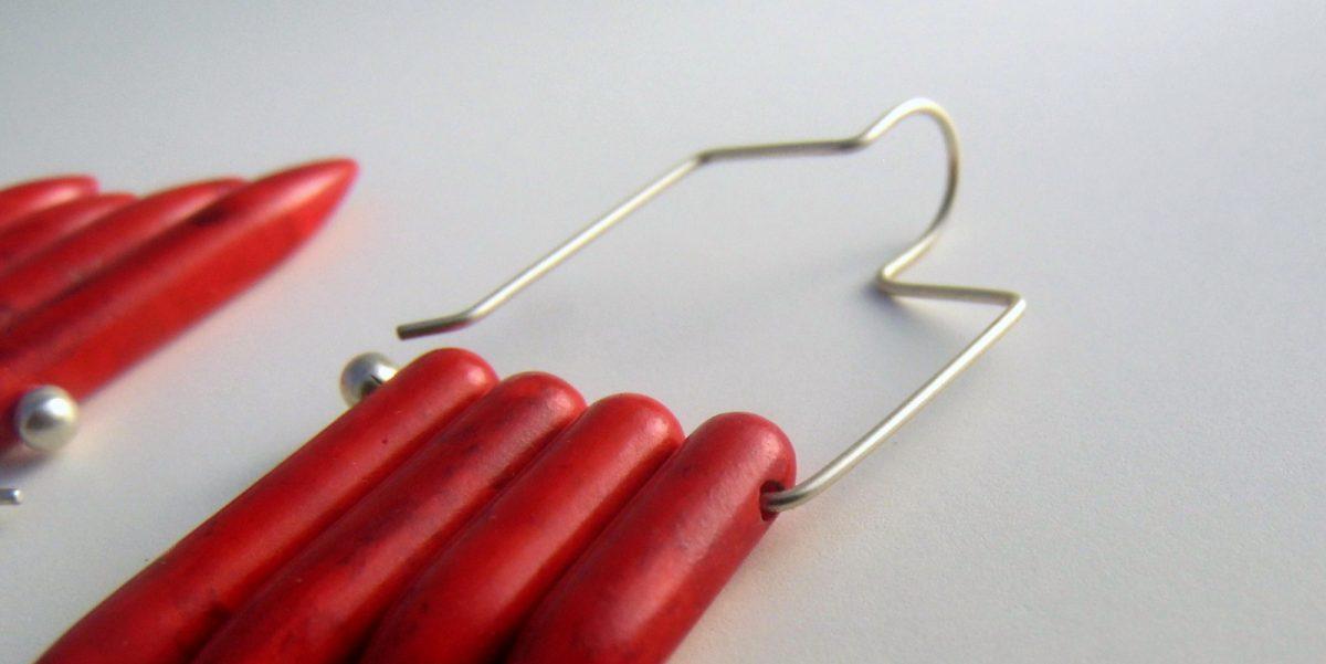 842 Red Magnesite Earrings
