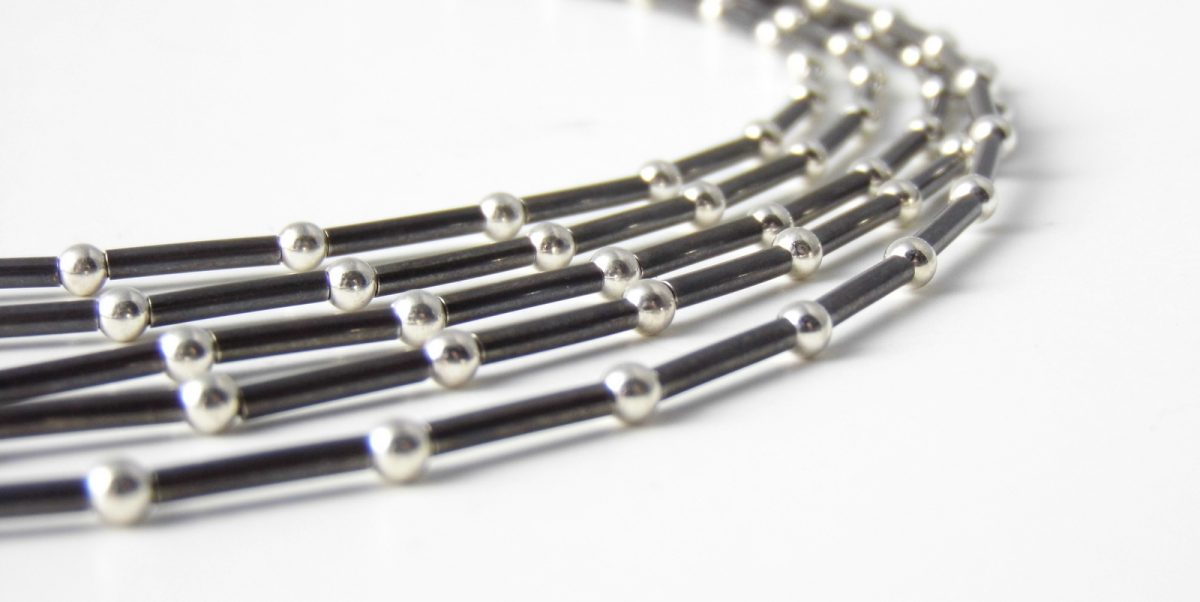 850 Five Strand Tube and Ball Necklace