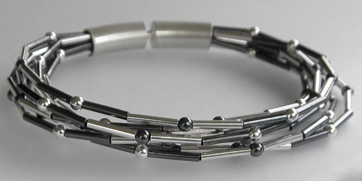 871 - White Oxidixed With Balls Bracelet