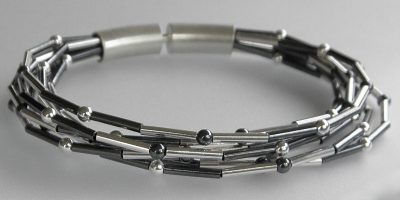 871 - White Oxidixed With Balls Bracelet