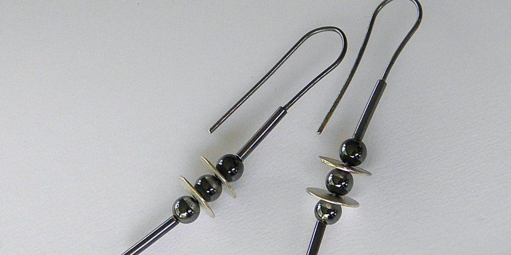 879 - Triple Hematite Earrings