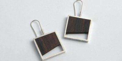 909 - Silver And Wood Earrings
