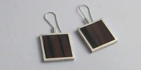 915 - Silver And Wood Earrings