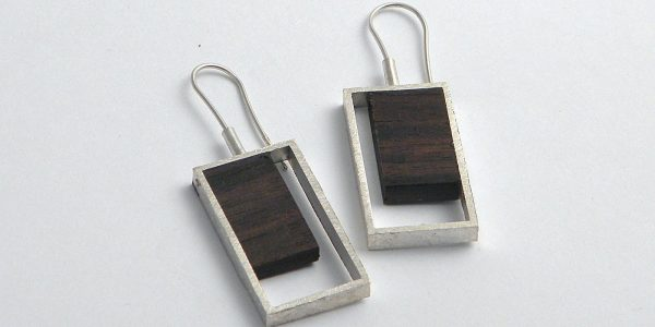 916 - Silver And Wood Earrings