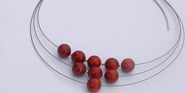 933 - Sponch Round Coral Necklace