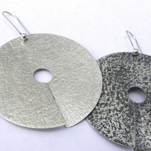 941 Silver Severed Moon Earrings