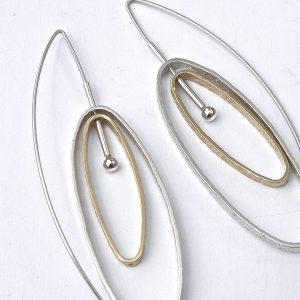 943 Double Oval Earrings wth 24ct Gold Vermeil
