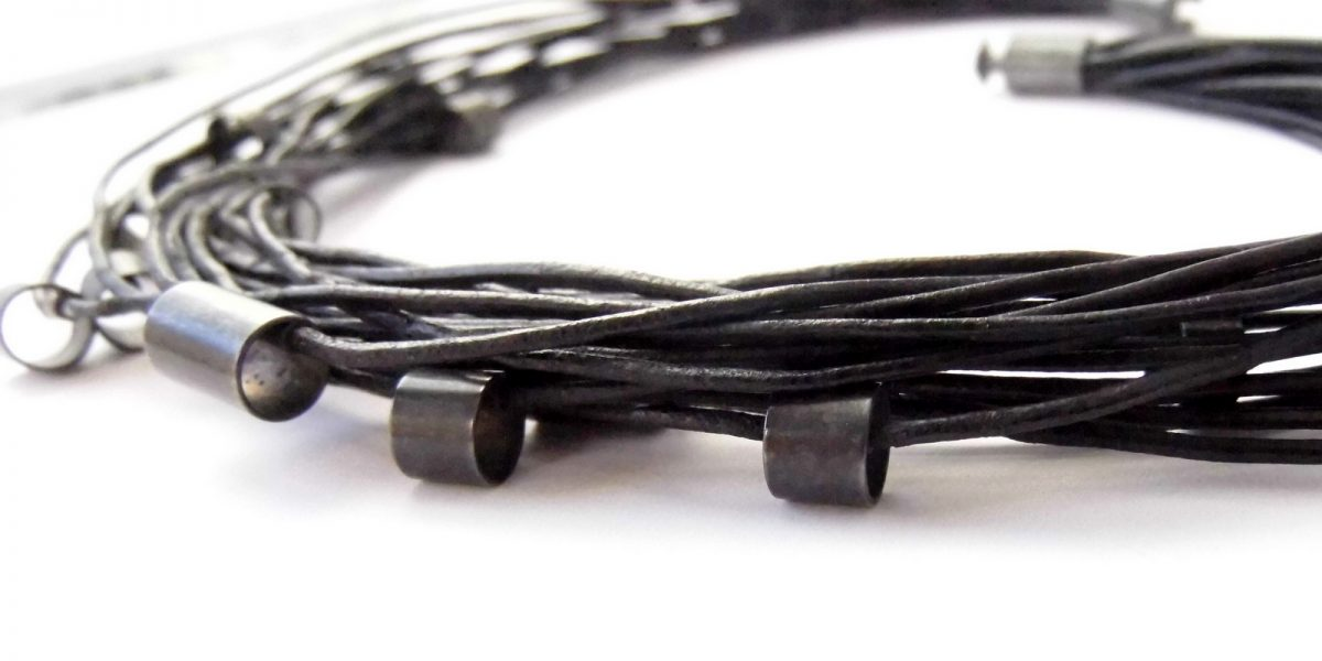 886 Black Leather and Tubes Necklace
